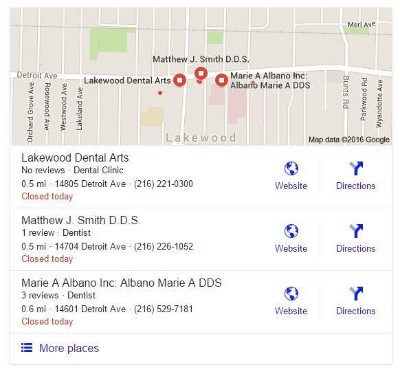 Cleveland SEO 3-pack local search results for search dentists near 44107