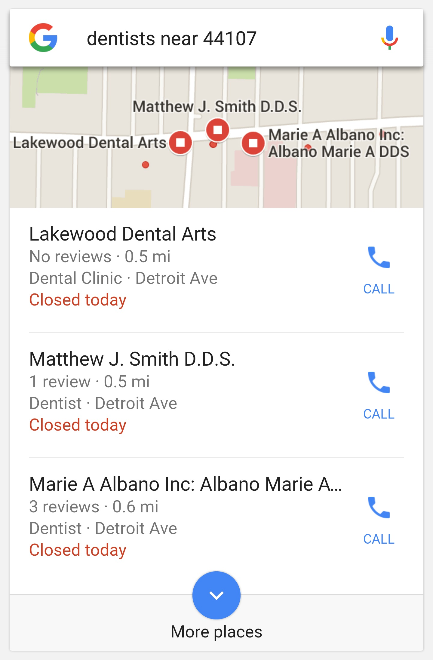"The 3-pack of local results when searching ""dentists near 44107"" on a mobile device."