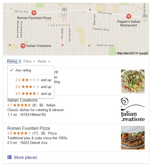 When searching for local restaurants, Google now lets you filter results by rating, price and hours.